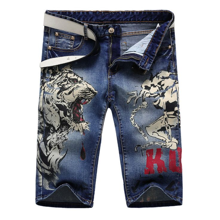 Men's fashion tiger and girl print jeans Male knee length slim straight stretch denim shorts Capri