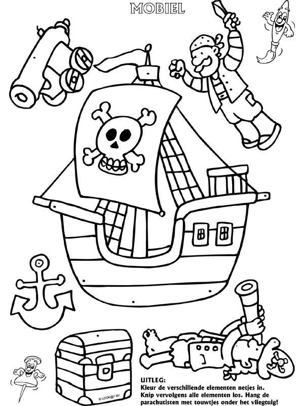 Piratenschip - Mobielen - Knutselpagina.nl - knutselen, knutselen en nog eens knutselen.