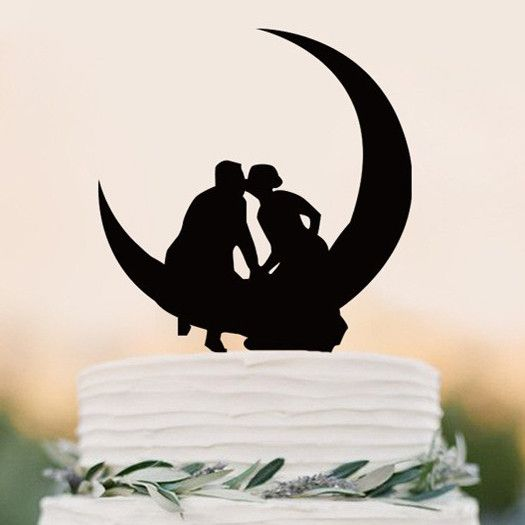 "Wedding Cake Topper (Romantic Kiss /Hold Hands /Anniversary Engagement) Material: Acrylic - Approx. Size: 5.5"" x 4.2"" (14cm x 10.6 cm) - Style: Bride & Groom Sitting on the Moon, Just The Two Of Us, R                                                                                                                                                                                 More"