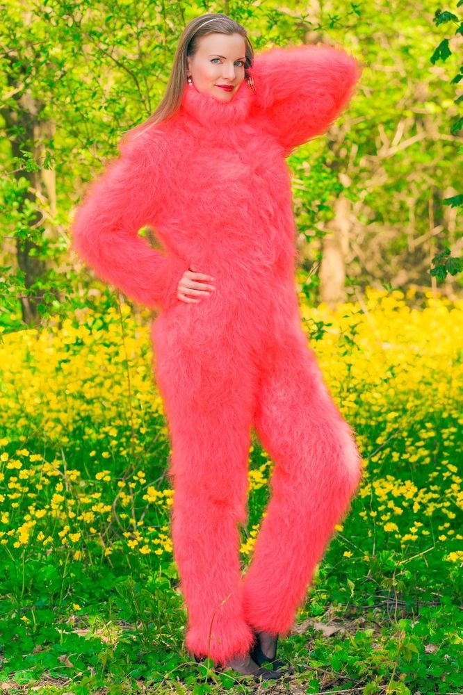 Neon red hand knitted mohair sweater bodysuit fuzzy catsuit by SUPERTANYA SALE  #SuperTanya #CrewneckTurtleneck