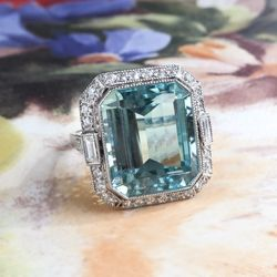 Fabulous 10.07ct t.w. Emerald Cut Aquamarine & Old Cut Diamonds Birthstone Cocktail Wedding Engagement Ring Platinum