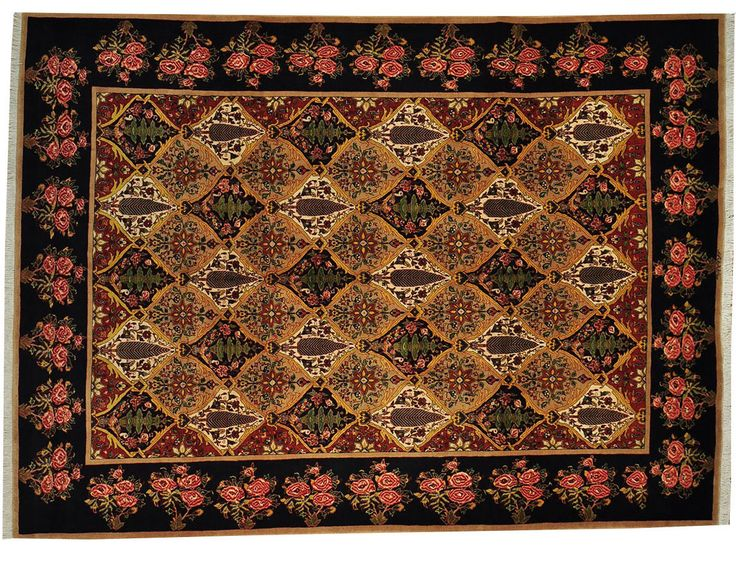 """Castle Garden (11' 5"""" x 8'6"""") This signed Bakhtiari rug features gorgeous flowers surrounding an intricate geometric pattern. Also interesting: Bakhtiari rugs in this size are often difficult to find."""