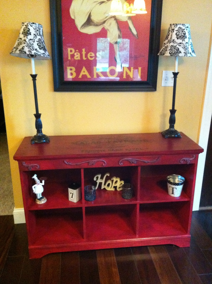 red distressed painted cabinet with black glaze | For the ...