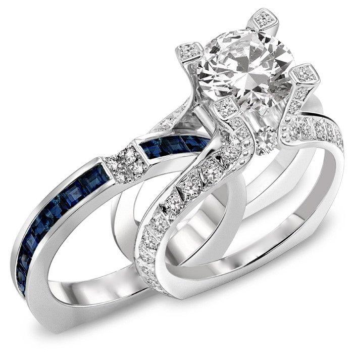 I'd like this with my birthstone - Garnett   3.25 CT ROUND DIAMOND ENGAGEMENT RING & BLUE SAPPHIRE WEDDING BAND SET HD VIDEO