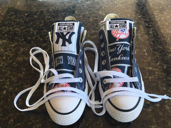 PLEASE READ THE DESCRIPTION FULLY  This listing is for Converse Chuck Taylors Custom MLB New York Yankees Baseball Print #2. Examples for when you are ordering ( lo means low top converse and hi mens hi top converse )  Example - BLACK LOW TOP TONGUE means your ordering BLACK LOW TOP CONVERSE WITH FABRIC JUST ON THE TONGUE Example - BLACK HI TOP TONGUE means your ordering BLACK HI TOP CONVERSE WITH FABRIC JUST ON THE TONGUE Example of BLACK LO SIDE&TONGUE means your ordering BLACK LOW TOP…