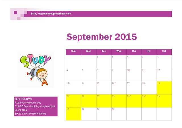 Free Printable September 2015 Calendar With Malaysia Public Holidays And School Holidays ~ Parenting Times