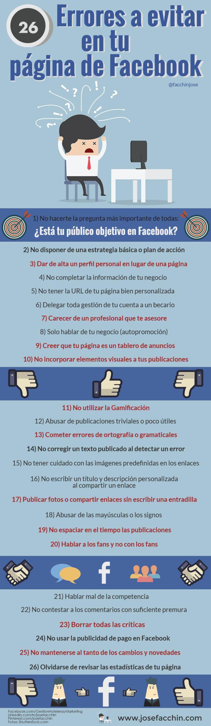 26 ERRORES A EVITAR EN TU PÁGINA DE FACEBOOK #INFOGRAFIA #SOCIALMEDIA #MARKETING