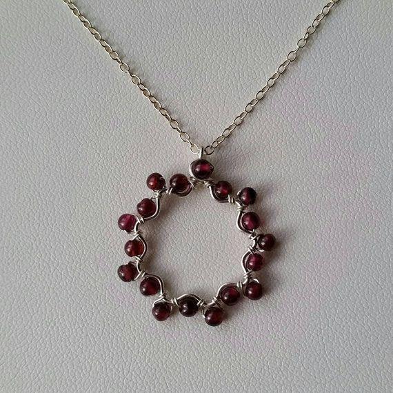 Garnet Sterling Silver Nine-Pointed Star Wirewrapped Bah�'� Star Pendant Necklace