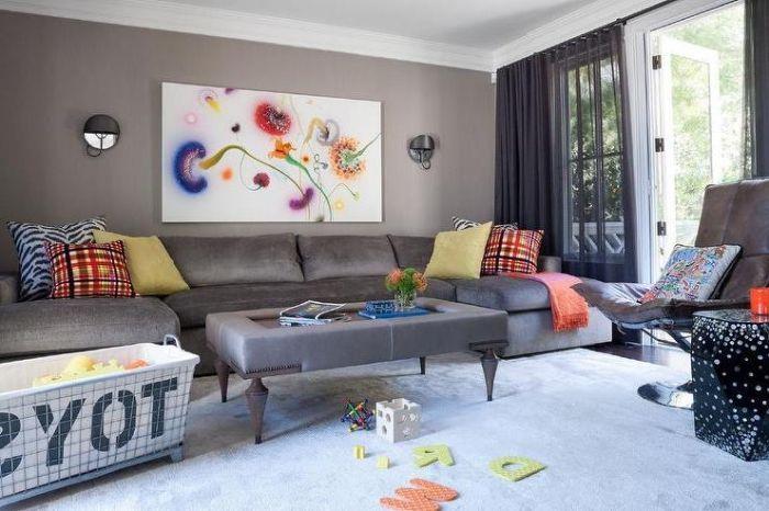 Wanddeko Wohnzimmer Grosses Graues Sofa Bild Mit Bunten