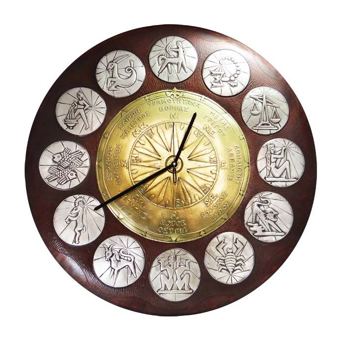 Unique round copper wall clock, with engraved depictions of the zodiac signs. The clock also features a windrose, showing the winds and the four points of the horizon. Diameter: 47cm Copper with partial silver-plating and bronze-plating.