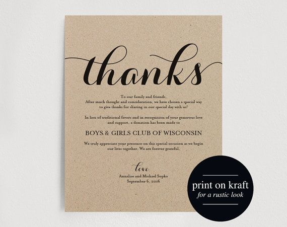 In lieu of wedding favors thank you by BlissPaperBoutique on Etsy