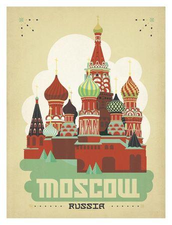 Moscow Russia Arte por Anderson Design Group na AllPosters.com.br