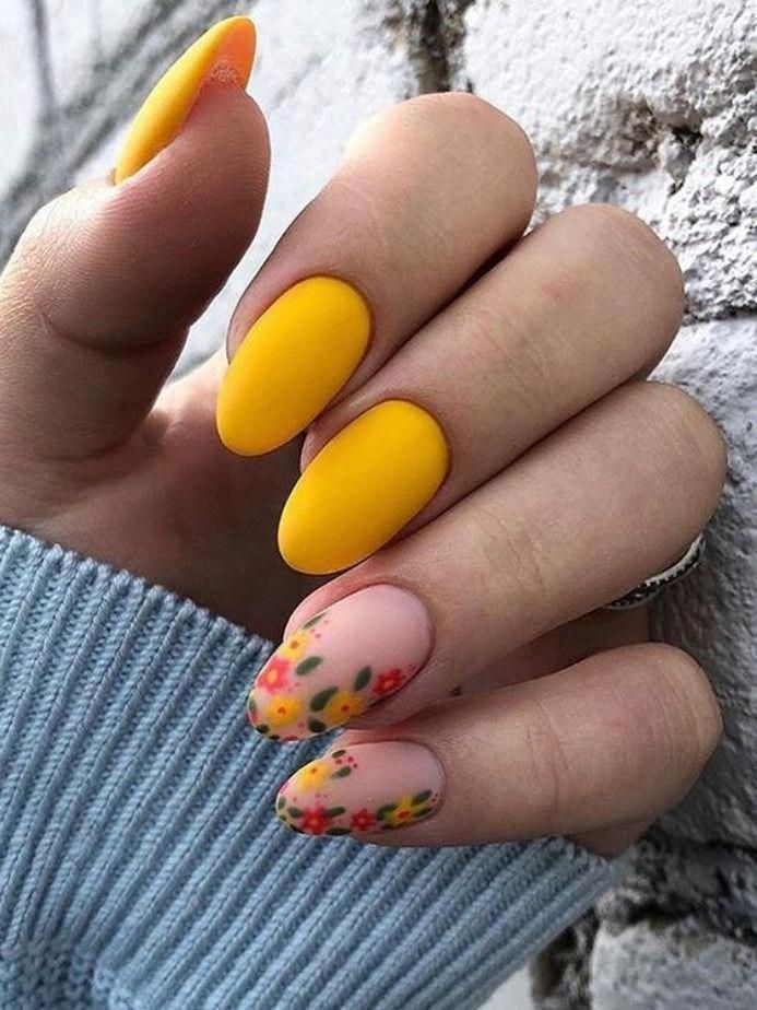 Amazing short bright mustard yellow nails with floral nude nails design! #yellownails