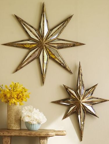 Decorative Star Mirror, Burnished Gold Finish, Small