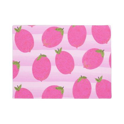 Pink Lemons Summer Fruit Watercolor Fun Bright Doormat - home gifts ideas decor special unique custom individual customized individualized