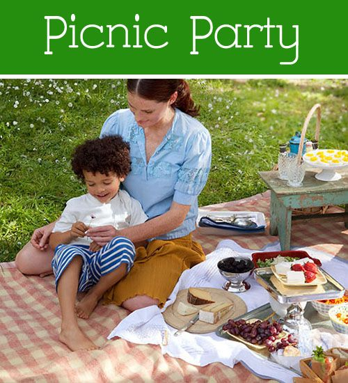 Ideas for a Picnic Party With the Kids: Kids Projects, Picnics Ideas, For Kids, Theme Parties, Parties Outside, Parties Ideas, Picnics Parties, Picnic Parties, Picnics Theme