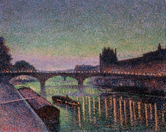 Maximilien Luce ~ The Louvre and the Pont du Carrousel, night effect, 1890