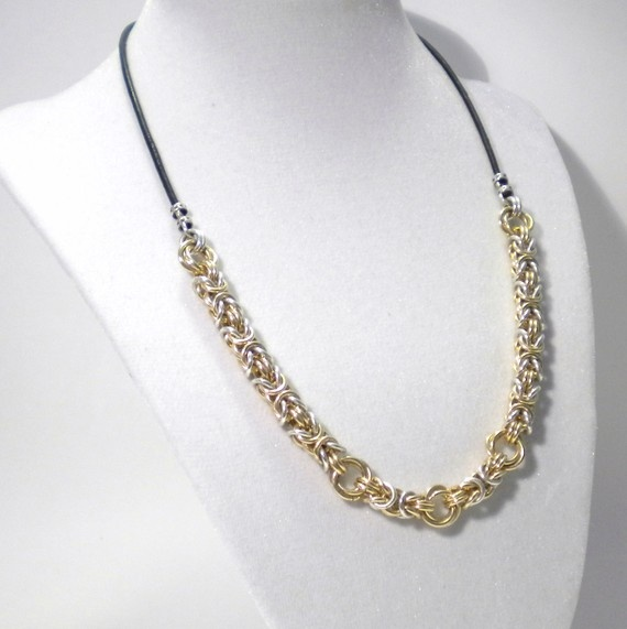 Byzantine Necklace Silver Gold Filled Chainmaille by Prittyfy,