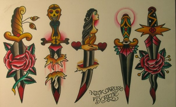 traditional dagger tattoo flash - nick carus