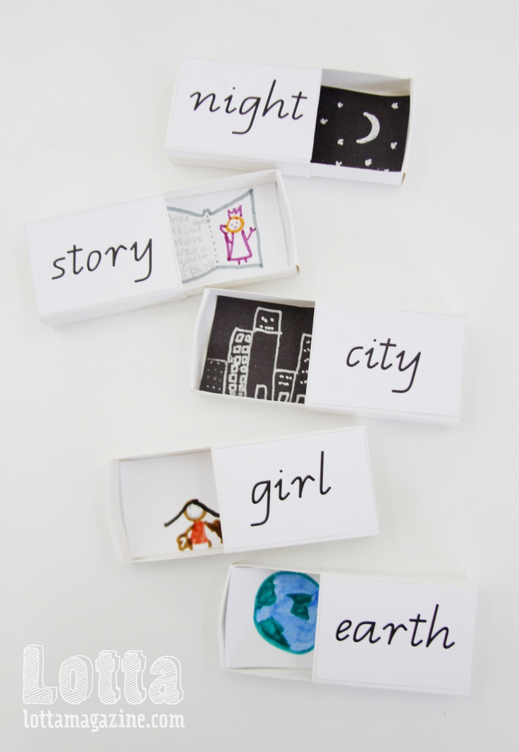 Matchboxes for sight word learning. Words printed on the outside, kids draw pictures for the inside that remind them of the meaning.