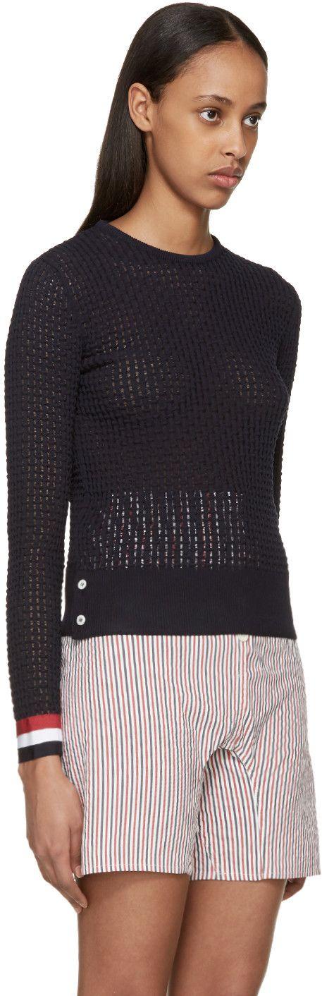 Thom Browne - Navy Ripple Stitch Sweater