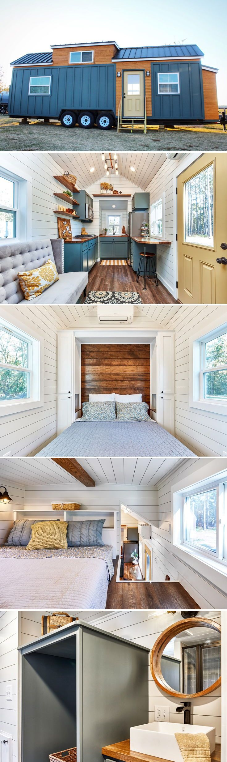 Built by Mustard Seed Tiny Homes, the Cypress is a two bedroom tiny house featuring a main floor master bedroom with Murphy bed that converts into a desk to create an office space.