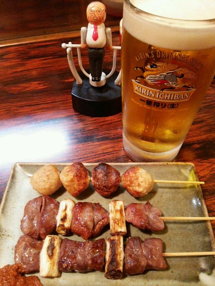 やきとり 酎太郎: お好きなやきとり3本+生ビール(中)1杯