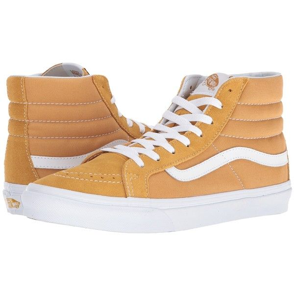 Vans SK8-Hi Slim ((Suede/Canvas) Amber Gold/True White) Skate Shoes ($65) ❤ liked on Polyvore featuring shoes, sneakers, white shoes, white canvas sneakers, high top canvas sneakers, suede sneakers and skate shoes
