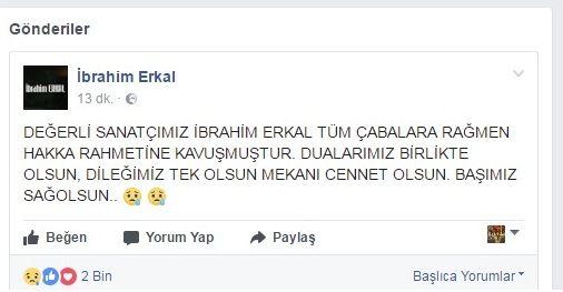 İHA'nın haberine göre ünlü şarkıcı İbrahim Erkal tedavi gördüğü hastanede hayatını kaybetti. Sanat dünyasını yıkan haber az önce geldi. Evinin otoparkında baygın bulunduktan sonra kaldırıldığı hastanede beyin kanaması tanısıyla ameliyata alınan ünlü şarkıcı İbrahim Erkal, ameliyat...   http://havari.co/ibrahim-erkalin-beyin-olumu-gerceklesti/