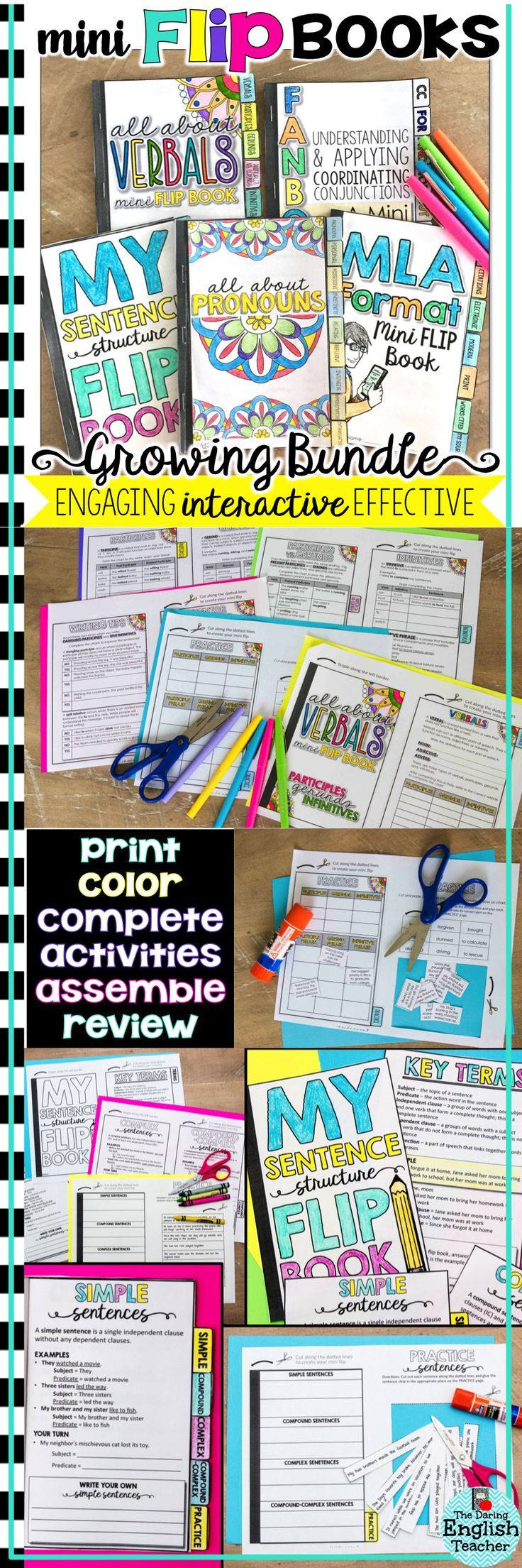 ELA mini flip books are an engaging and effective way to teach and review English language arts skills like grammar, parts of speech, writing, and more!