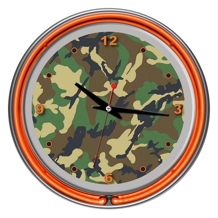 Hunt Camouflage Double Ring Neon Wall Clock, Multicolor