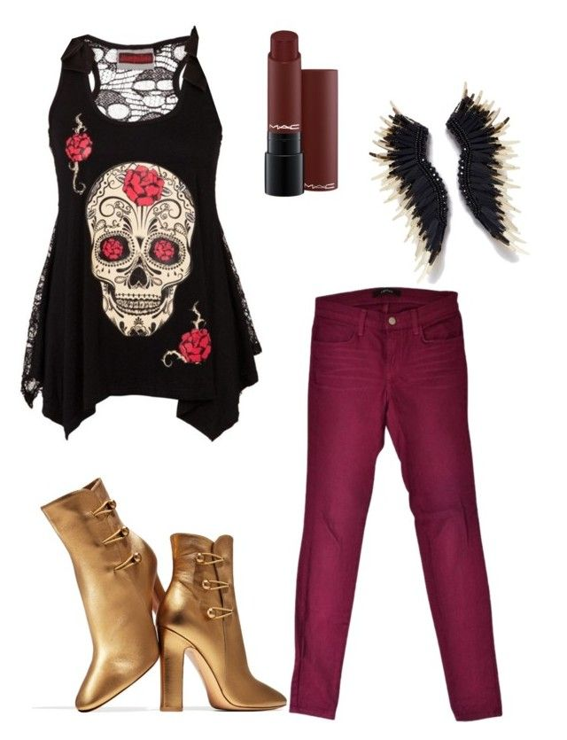 deep red is new rock by ariatorva on Polyvore featuring polyvore fashion style J Brand Gianvito Rossi clothing