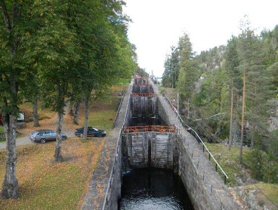 De 8 sluizen in het telemarken kanaal, bij Lunde, Ulefoss, Noorwegen.