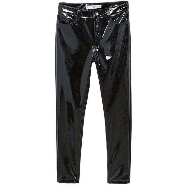 Vinyl Trousers found on Polyvore featuring pants, black, 5 pocket pants, mango trousers, zipper trousers, five pocket pants and super skinny pants
