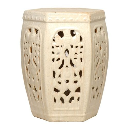 Amazing Champagne Hexagon Ceramic Garden Stool    This Beautiful Six Sided Garden  Stool Features A Champagne Ceramic Finish With A Classic Lattice Design.