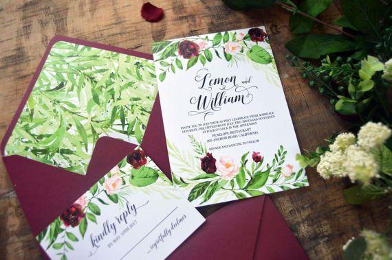 Marsala Greenery Wedding Invitation Suite, Floral Invitation Suite, Elegant Invite, Floral Greenery Watercolor Invitation, Invites