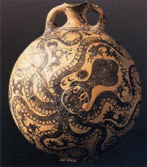 Brocca con polipo. Ceramica dipinta in stile marino. 1550-1500 a. C. h 28 cm. Da Paleokastro. Heraklion, Museo Archeologico. Creta.