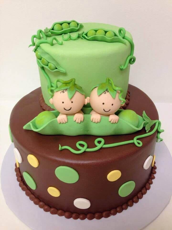 Two peas in a pod baby shower cake