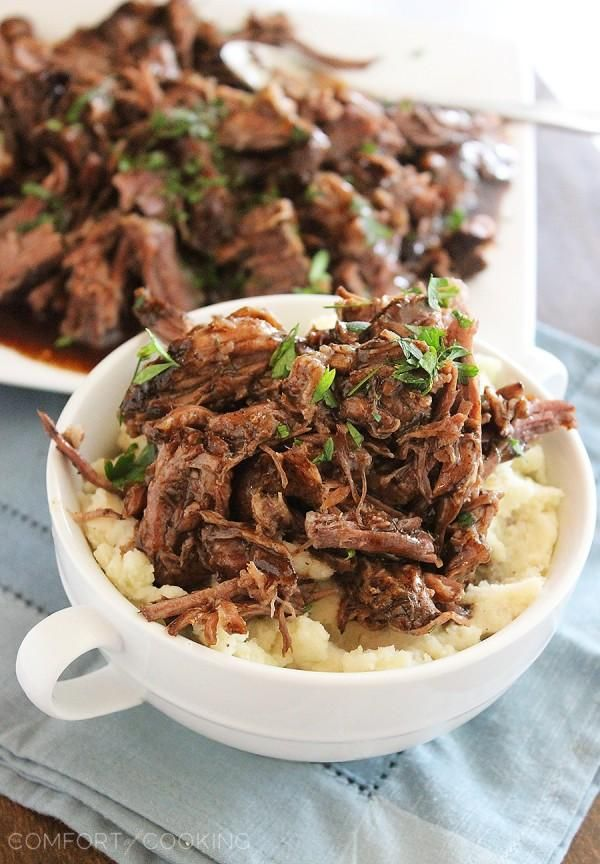 Slow Cooker Balsamic Glazed Roast Beef – This tangy, sweet and salty beef roast makes for one mouthwatering meal on a bun, or served on top of fluffy mashed potatoes!   thecomfortofcooking.com