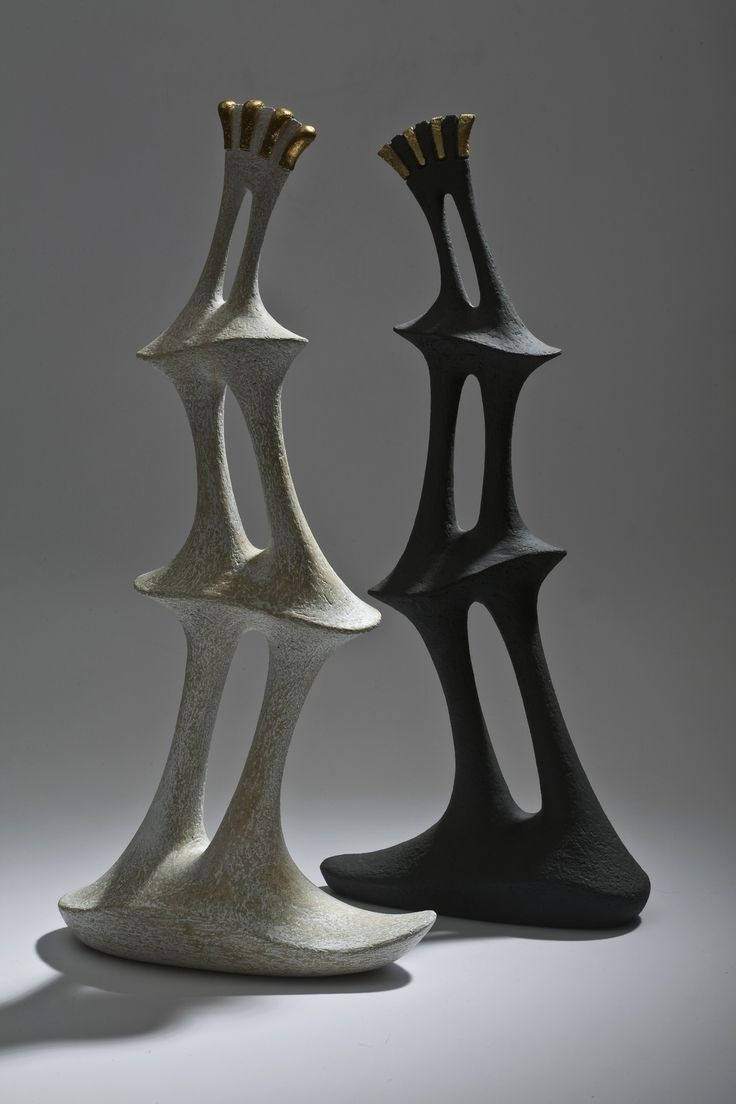 István HOLLÓ: ceramic sculptures 2013. handbuilt chamotte stoneware, engobe, tinsel.