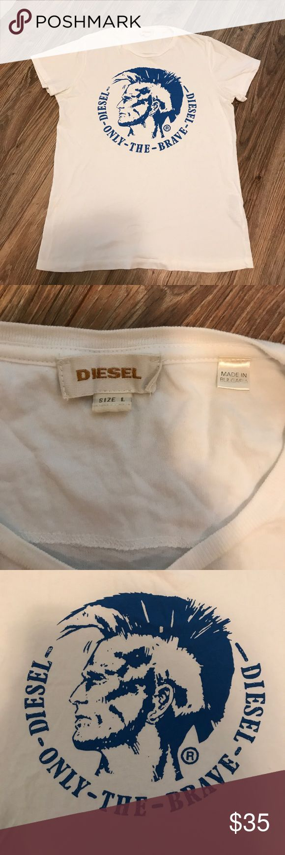 Pre owned diesel t shirt size large Preowned diesel T-shirt size large in great preowned condition color is white with blue diesel logo Diesel Shirts Tees - Short Sleeve