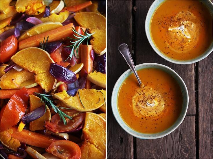 Suppe av bakte grønnsaker [Likte ikke. Hadde en søtlig smak som ble feil]