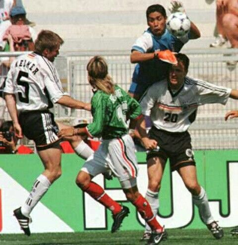Germany 2 Mexico 1 in 1998 in Montpellier. Jorge Campos comes out to clear in Round 2 of the World Cup.