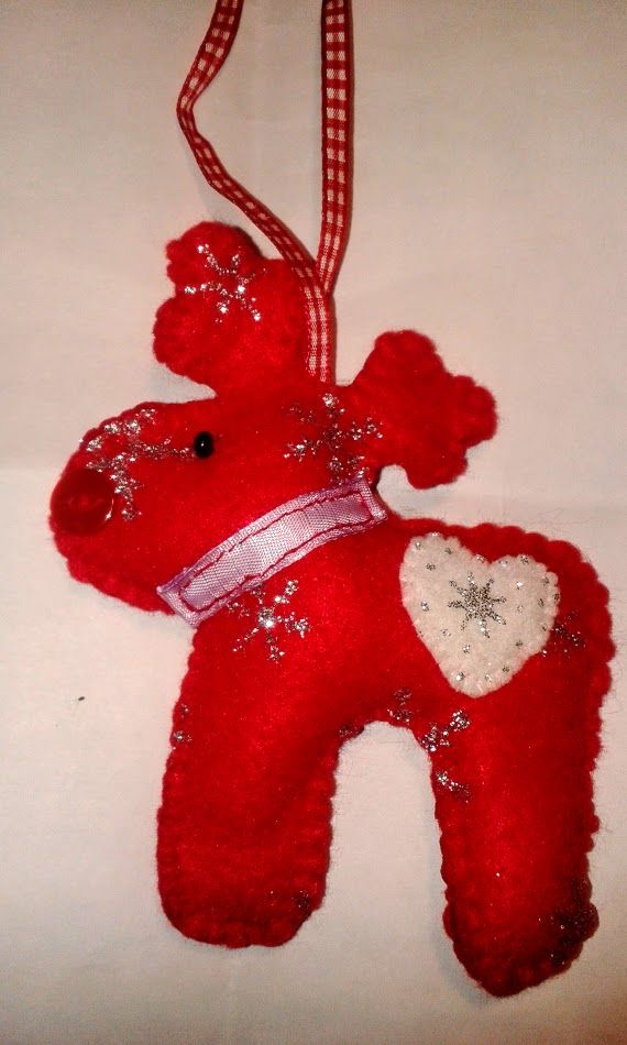 Felt Reindeer. Made at Tupton WI Crafts - with thanks to Jenny Crowe.