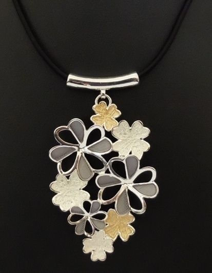 Unique Fashion Jewellery Australia - Silver Gold and Grey Flower Cluster Ikita Necklace , $40.00 (http://www.uniquefashionjewellery.com/silver-gold-and-grey-flower-cluster-ikita-necklace/)