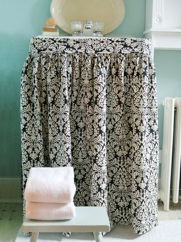 Easy-to-Sew Sink Skirt: A great DIY project from @Mustard Seed Marian Parsons, who is sharing her favorites from 2012 on our @hgtv Pinterest Board. Join us!