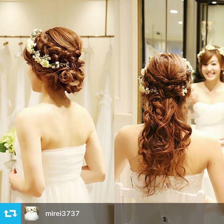 THE SURREY 青山店 2015 winter collection!! 海外挙式ではヘアチェンジを諦める花嫁様が多いと思いますが、ルーズなアップスタイルから下のピンを外すだけで簡単にダウンスタイルにセルフチェンジも可能です! #アクロシェクール #ヘアメイク#ヘアアレンジ #花嫁ヘア #花嫁 #bride #bridal #wedding #thesurrey #mireiヘアメイク