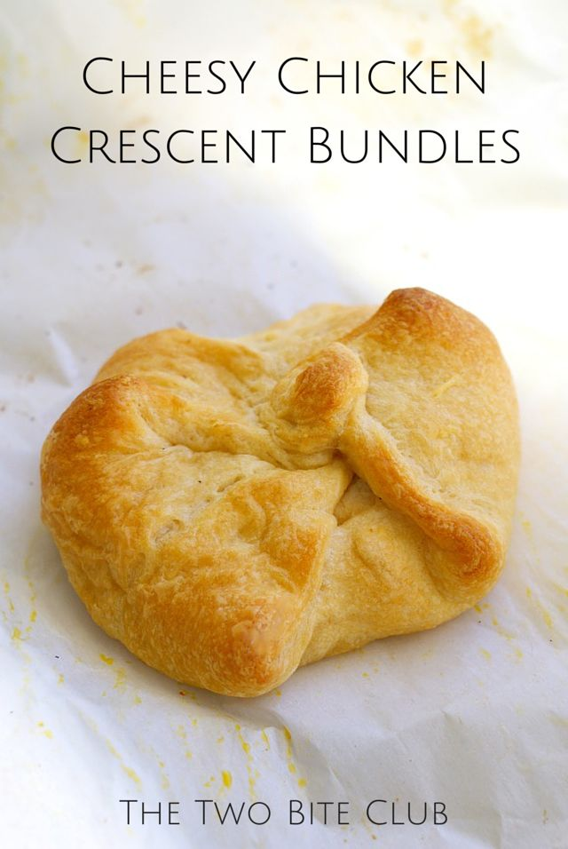 Cheesy Chicken Crescent Bundles are golden baked crescent rolls that are stuffed with a rich and garlicky chicken, parmesan, and cream cheese filling.