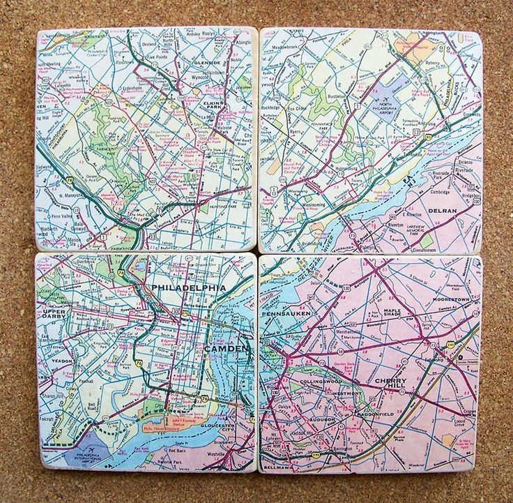 Map Coasters - Philadelphia. 4 x 4 travertine tiles are decoupaged with a pastel-colored map of Philadelphia, PA. Coasters are then protected with 3 coats of varnish on the top and cork on the bottom. The set of 4 coasters is packed in a glossy, white gift box - ready for gift-giving. - Made to order and will ship Priority USPS in 3-4 days. - Handmade in Florida.