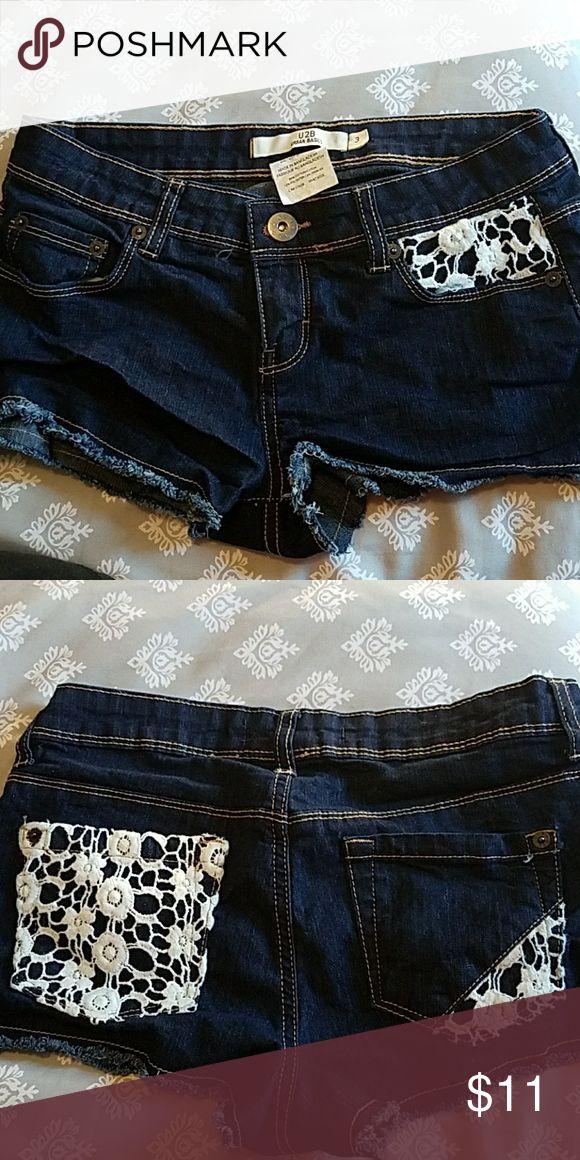 Jean Shorts Adorable Jean Shorts with crocheted pockets. Barely worn. Like new. Urban Basics Shorts Jean Shorts